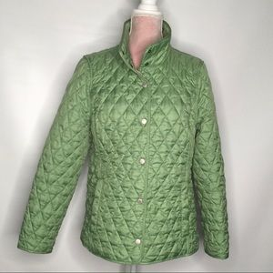 L.L. Bean quilted jacket. Lovely green colour.
